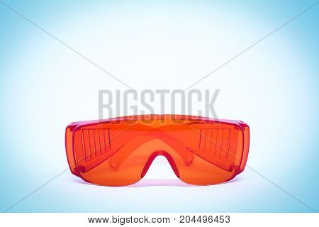 Plastic red waterproof glasses for background or texture.