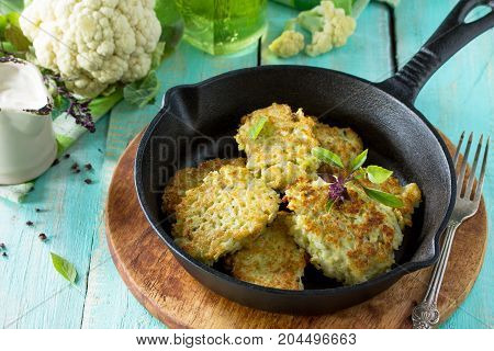 Vegetable Pancakes. Fried Vegetarian Cutlets Or Fritters On A Kitchen Wooden Table. The Concept Of D
