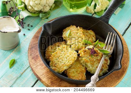 Vegetable Pancakes. Fried Vegetarian Cutlets Or Fritters On A Kitchen Wooden Table. The Concept Of H