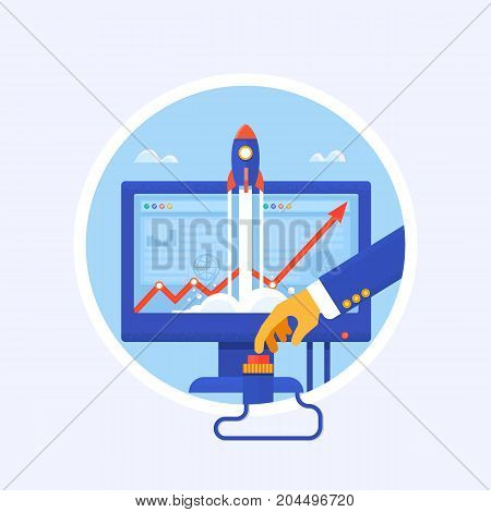 Start Up. Flat design modern vector illustration concept of new business project start-up development and launch a new innovation product on a market.