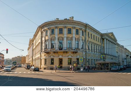 ST PETERSBURG RUSSIA - AUGUST 15 2017. Adamini House built in St Petersburg Russia- one of the most important buildings of Domenico Adamini Russian engineer and architect of Swiss origin