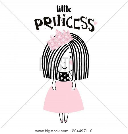 Cute little girl print. Girl ballerina with pink glitter crown. Great for kids apparel nursery decoration. Vector Illustration