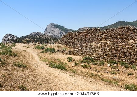 Ruins of ancient walls. Genoese ancient fortress near the city of Sudak.