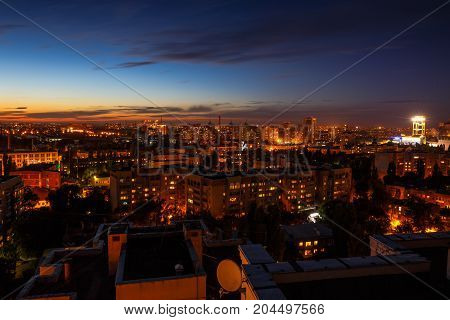 Night city concept, many modern buildings, Voronezh, aerial view, panoramic photo