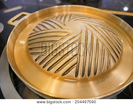 Brass Pan Korean Wok Barbecue Bbq Grill Pan
