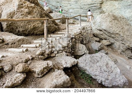 New World, Crimea - 12 July, Stairs with wooden fortified logs, 12 July, 2017. Travel along the coast along the path of Prince Golitsyn.