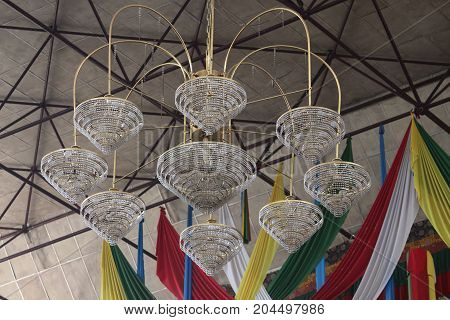 bunch of decorated light bulb on the ceiling