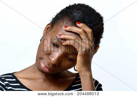 Worried African American Woman Looking Down