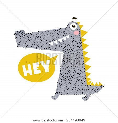 Cute cartoon crocodile print. Childish print for nursery kids apparelposter postcard. Vector Illustration