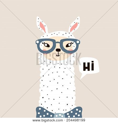 Cute Lama face. Childish print for fabric t-shirt poster card baby shower. Vector Illustrtion