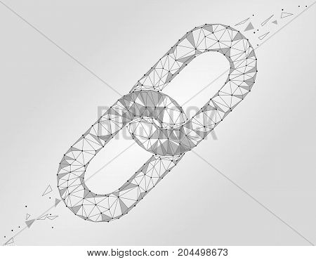 Blockchain link sign low poly design. Internet technology chain icon triangle polygonal hyperlink security business network concept. White gray isolated wire connected point vector illustration art