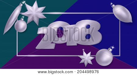 2018 New Year 3d realistic flat lay composition. Silver metallic Christmas tree toys ball star oval shape. Top view banner template vector illustration. Number in frame on blue green background art