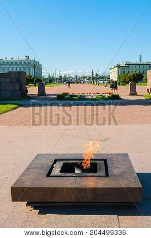 ST PETERSBURG RUSSIA - AUGUST 15 2017. Eternal flame memorial at the Field of Mars in St Petersburg Russia