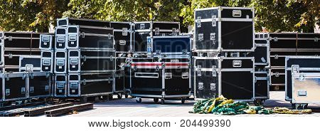Stage equipment boxes for outdoor summer concert