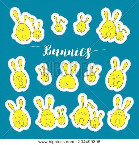 Vector collection of rabbits stickers in cartoon style. Cute animals illustration. Kids hand-drawn design. Flat style