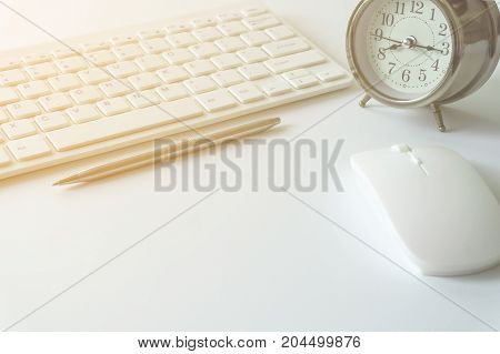 Office desk with copy space. Digital devices wireless keyboard and mouse on office table with note pad,you can apply to your product.
