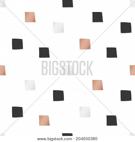 White Christmas and New Year's wrapping paper with sqares of gold and bronze foil. Seamless vector pattern.