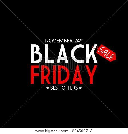 BLACK FRIDAY TEXT AS AN ILLUSTRATION ON BLACK BACKGROUND. BLACK FRIDAY BANNER
