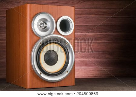 Musical Speaker Close-up On A Wooden Background.