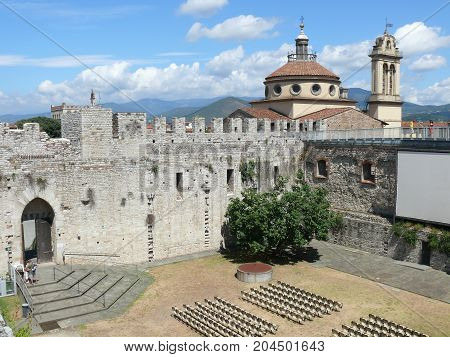 Prato, Italy, august 2, 2015: Court of Emperors Castle in Prato (Tuscany)