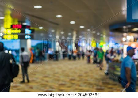Bokeh Abstract Background Of The Departure Hall Airport