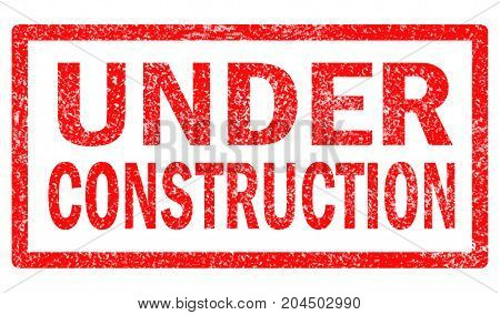 grunge under construction rubber stamp on white background. under construction sign.