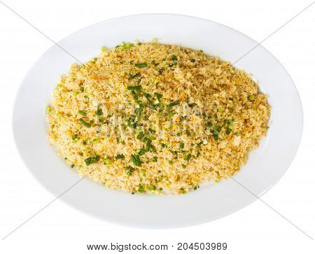 Plate Of Organic Rice With Vegetables - Isolated On White. Top View