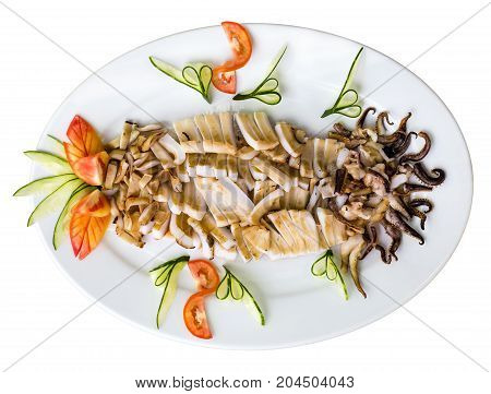 Plate Of Grilled Squids - Isolated On White. Top View