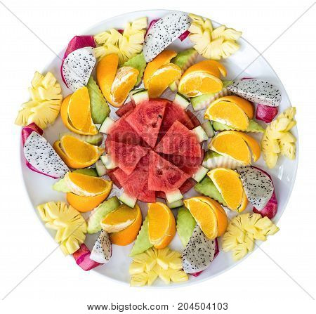 Composition Dish Of Thai Fruits. Top View