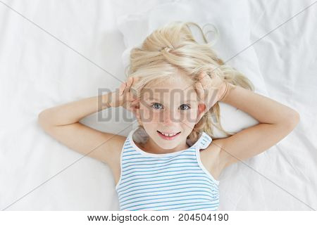 Curious Little Girl Awakes Up Early, Stays In Bed, Tries To Hear What Parents Talk About In Next Roo