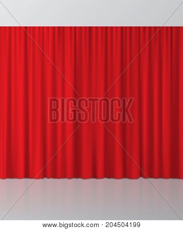 Red curtain background. Vector realistic interior element.