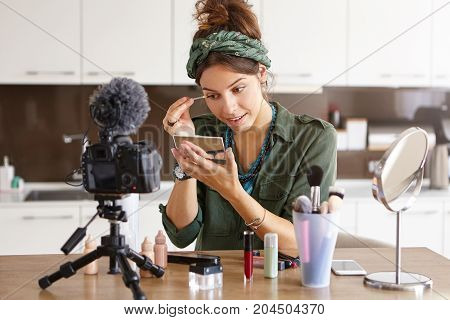 Attractive Talented Female Blogger Does Make Up, Reviews Beauty Product For Video Blog, Gives Advice