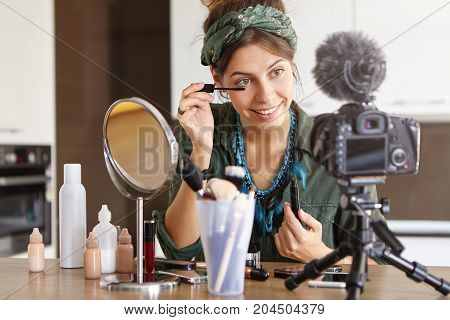 Successful Celebrity Woman Vlogger Recording Make Up Video Tutorial For Her Subscribers On Social Me