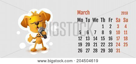 2018 year of yellow dog on Chinese calendar. Calendar grid month March. Yellow dog singing solo microphone. Vector cartoon illustration