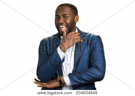 Happy black businessman, white background. Afro american man express joy and hapiness.