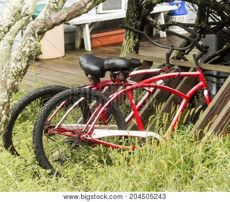 Two red beach bikes parked in the tall beach grass on Fire Island New York.