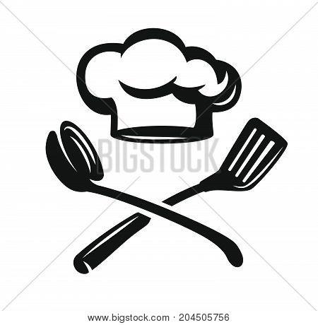 Chef hat with kitchen utensils. Vector illustration
