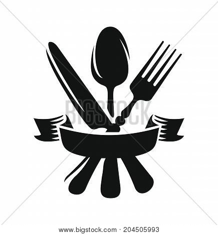 Cutlery - knife, spoon and fork crossed for menu with ribbon. Vector icon