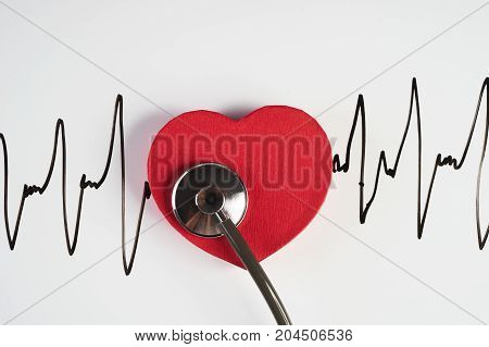 Medical Stethoscope And Red Heart With Cardiogram