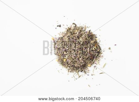 The Mixture Of Herbs On A White Circle