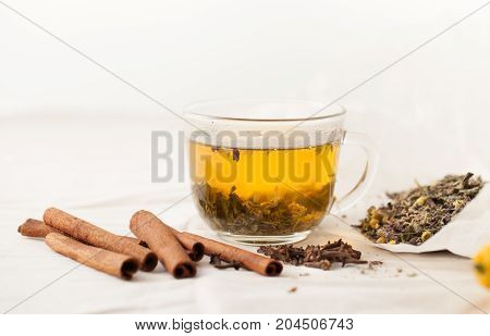 Herbal Tea With Herbs With Cinnamon And Cloves