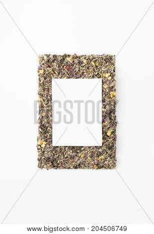Tea from medicinal herbs to support the immune system and getting rid of beriberi. Background image. Place for text.
