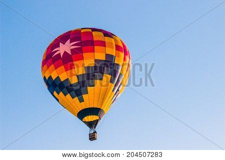 Colorful Hot Air Balloon With Eight Point Star