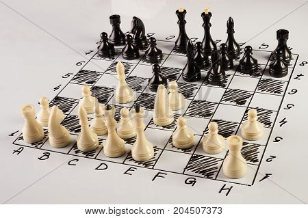 Chess Board With Chess Pieces Isolated On White.