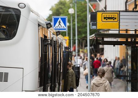 Bus stop on a city street  in Europe