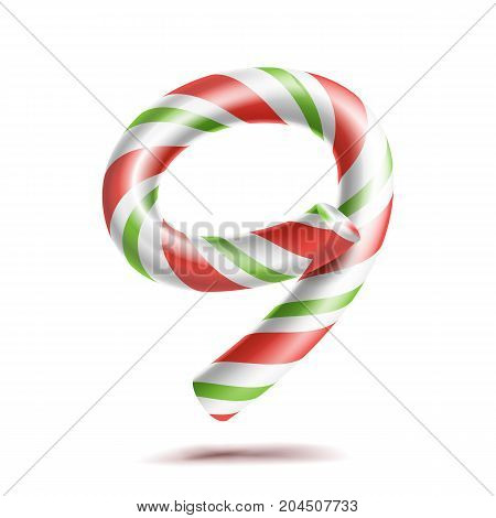 9, Number Nine Vector. 3D Number Sign. Figure 9 In Christmas Colours. Red, White, Green Striped. Classic Xmas Mint Hard Candy Cane. New Year Design. Isolated