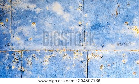Old Blue Rusty Iron Plate