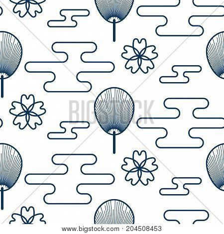 Japanese pattern in blue and orange colors. Japan inspired abstract texture design with clouds, sacura flowers and fans.