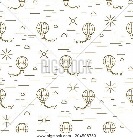 Balloon simple line gold and white seamless vector pattern. Scandinavian repeat wrap design texture for paper, wallpaper and fabric print.