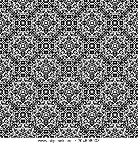 Black and white pattern, seamless lace texture, swirly seamless ornament